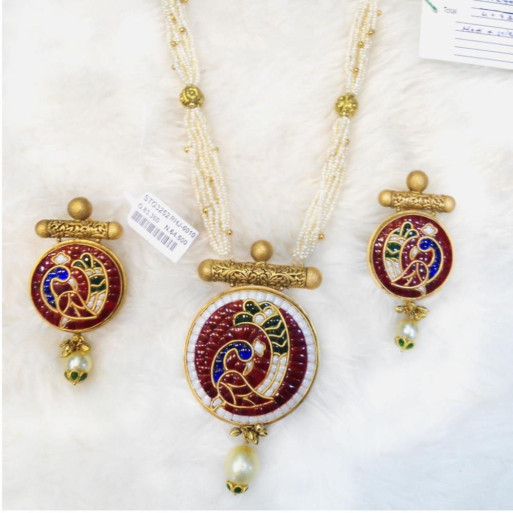 916 Gold Peacock Design Long Necklace Set RHJ-6010