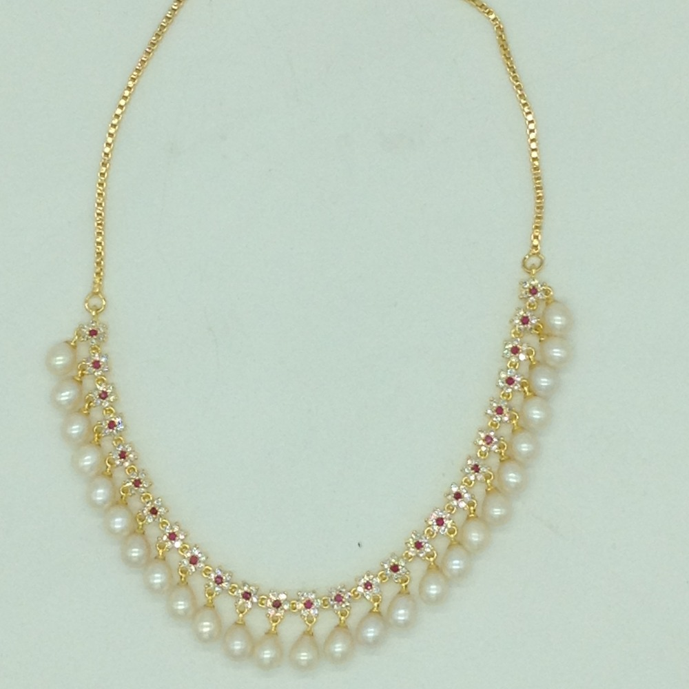 White and RedCZ Stones And Tear Drop Pearls Necklace Set JNC0146