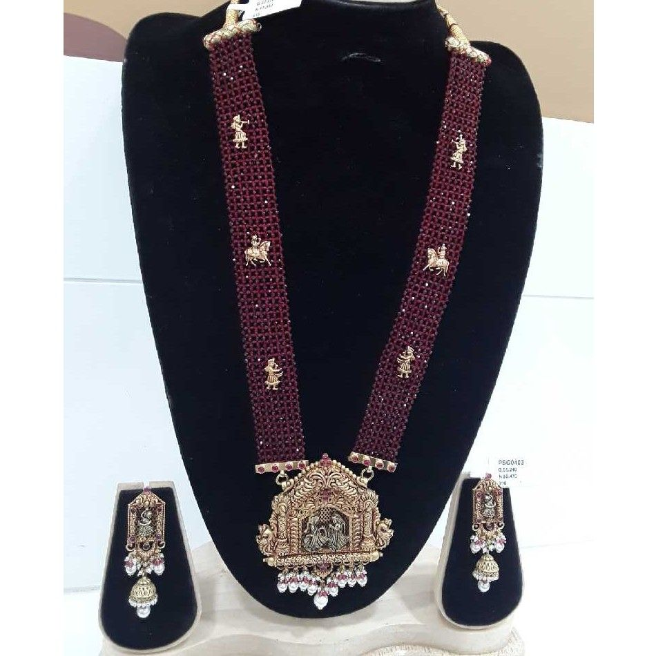 916 Antique Temple Set With Red Mani