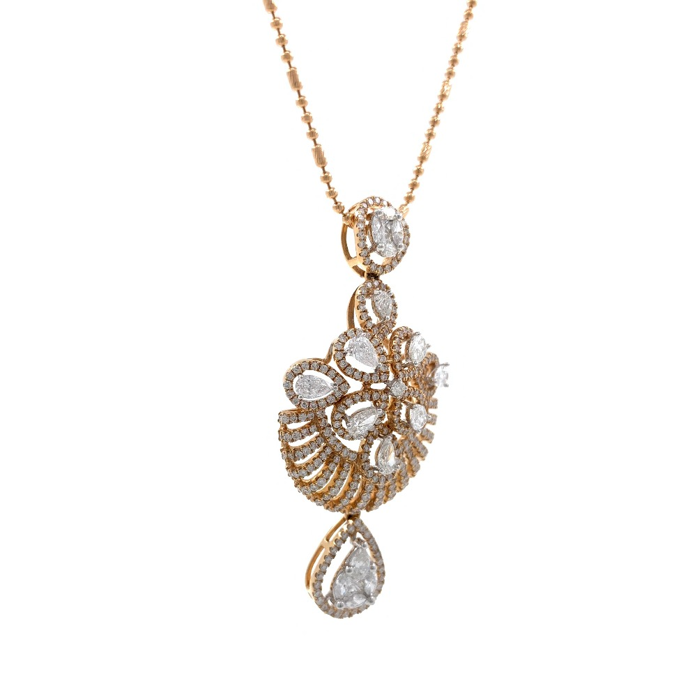 Giovanea Pressure Set Diamond Pendant in Rose Gold 7SHP11