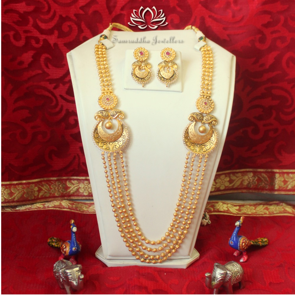 22KT Gold Antique Bridal Toda Long Necklace Set SJ - N005