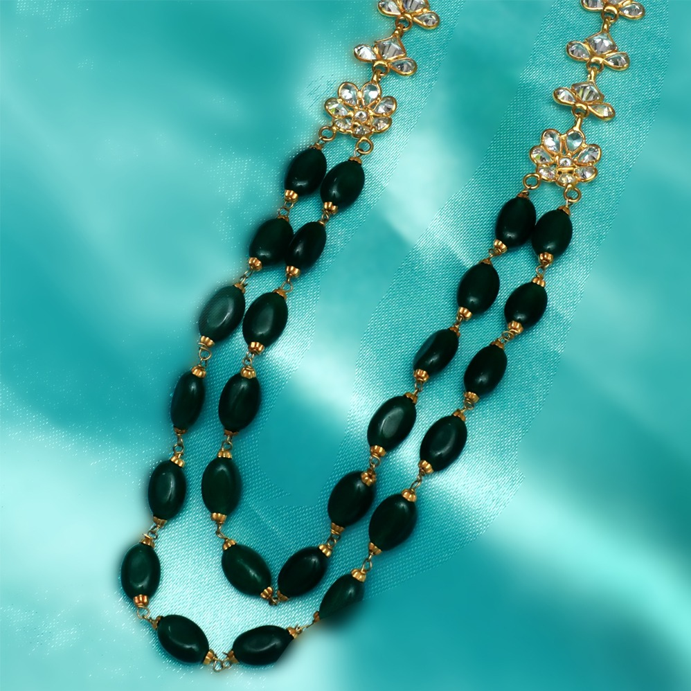 916 Gold Classic Green Stone Mala PJ-M004