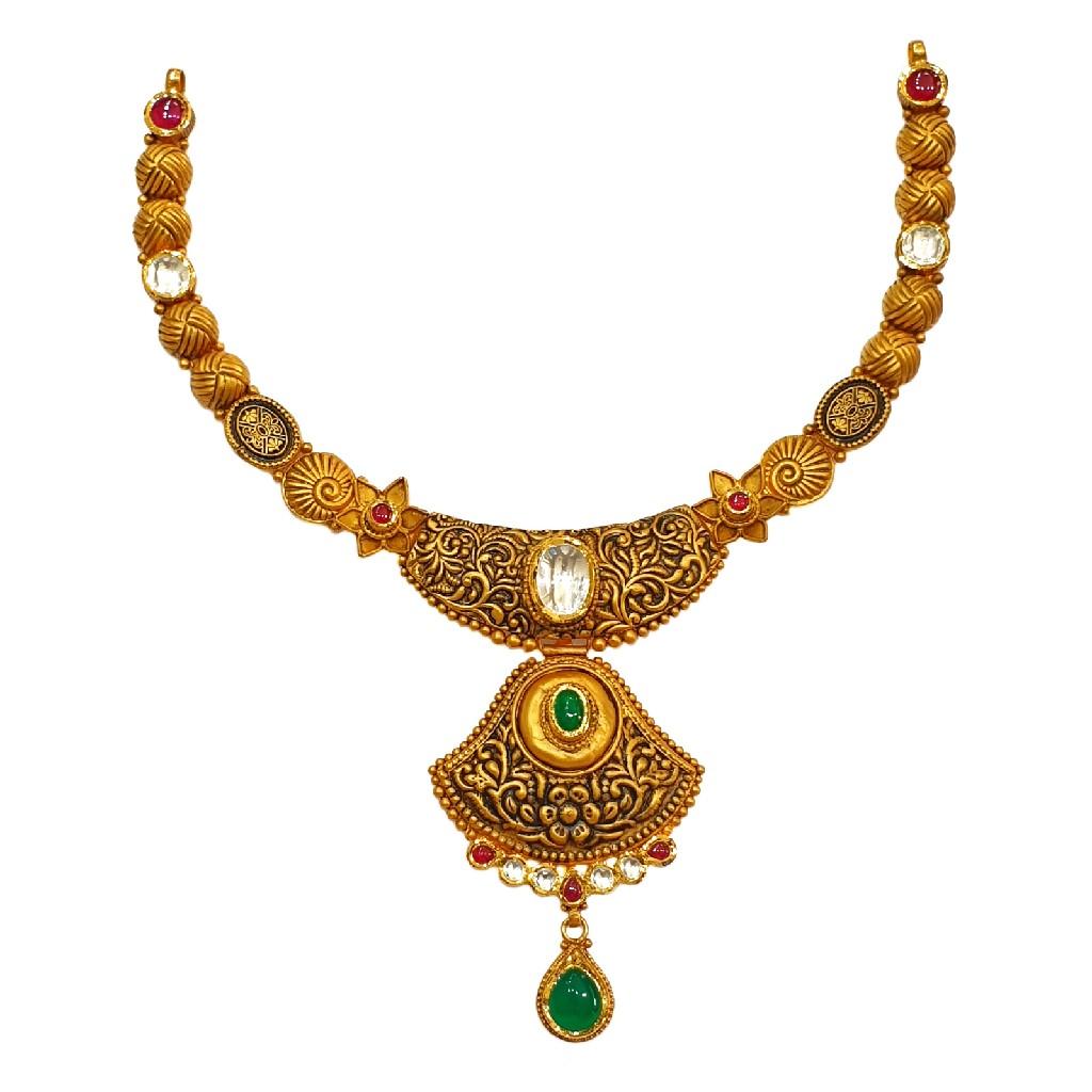 22K Gold Antique Designer Necklace Set MGA - GN0090