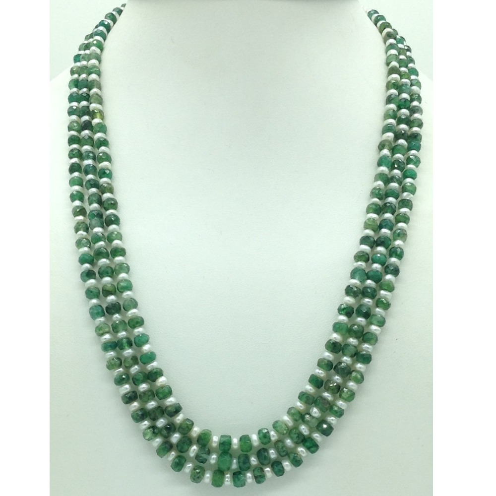 White FlatPearls with Green Bariels 3Layers Necklace JPM0430