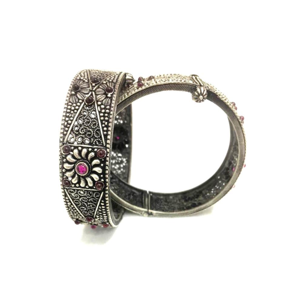 925 Silver Antique Flower Design Bangle