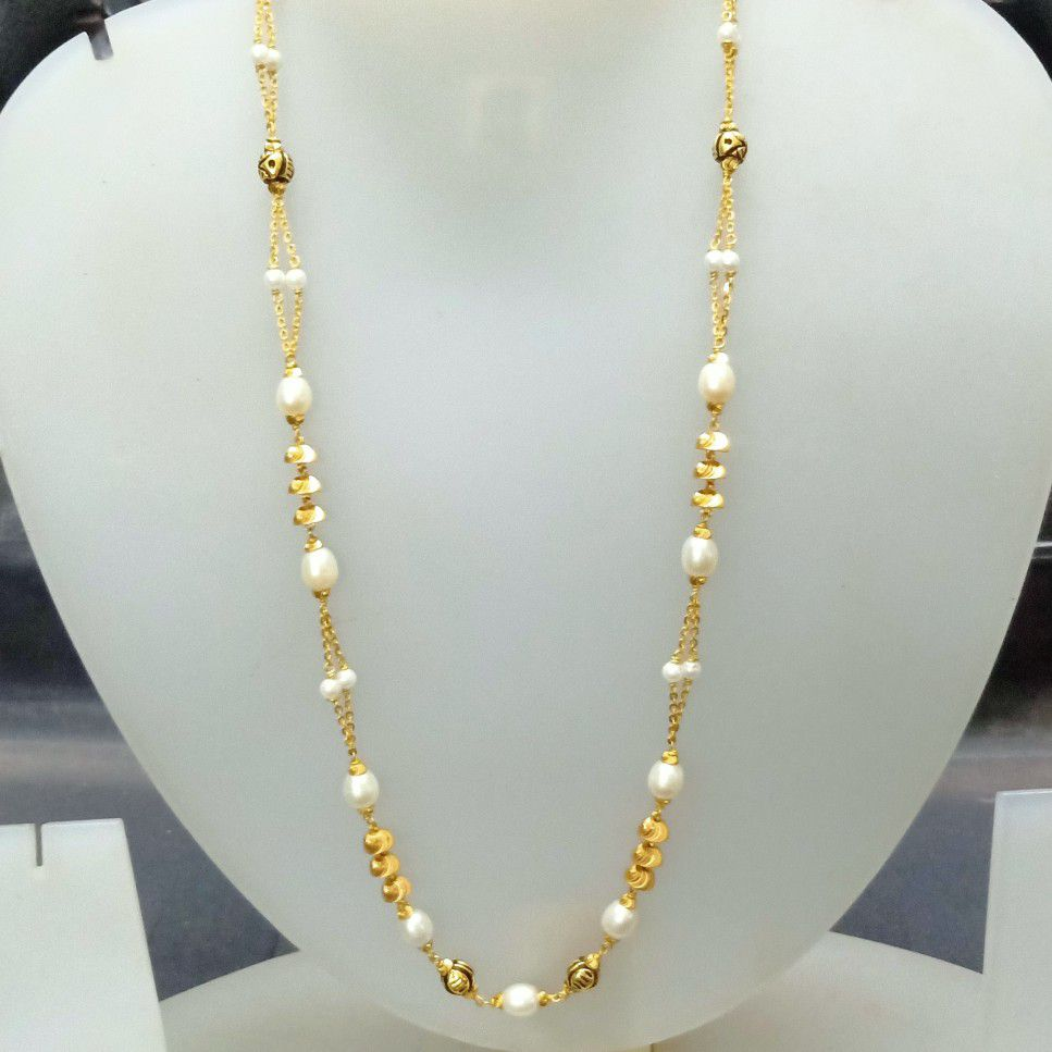 916 Gold White Color Fancy Mala