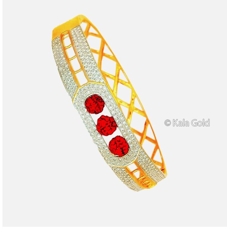 916 Gold Fancy CZ Kada Bangle With Rudraksh
