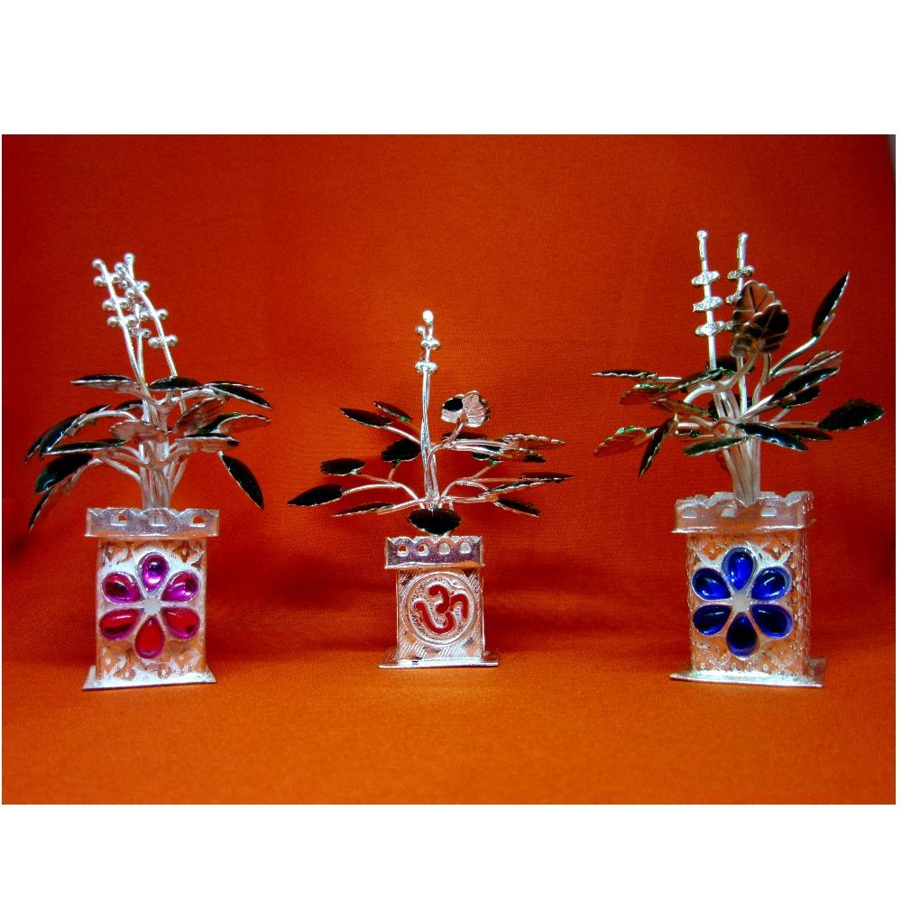 Silver tulshi kyara multicolor stone meena design