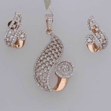 18KT Rose Gold plated Delicate Pendant Set RH-PS001