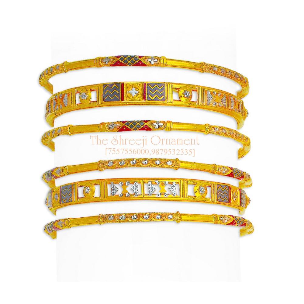 916 Gold Stylish 6 Pair Copper Kadali Set - 006