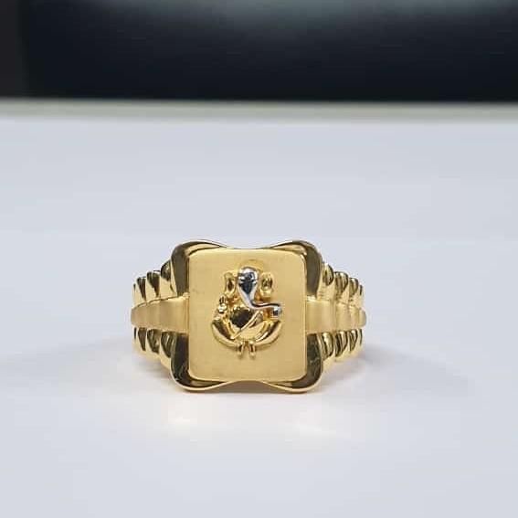 22Kt Gold Dull Polish Rodiyam Ganpati Jents ring