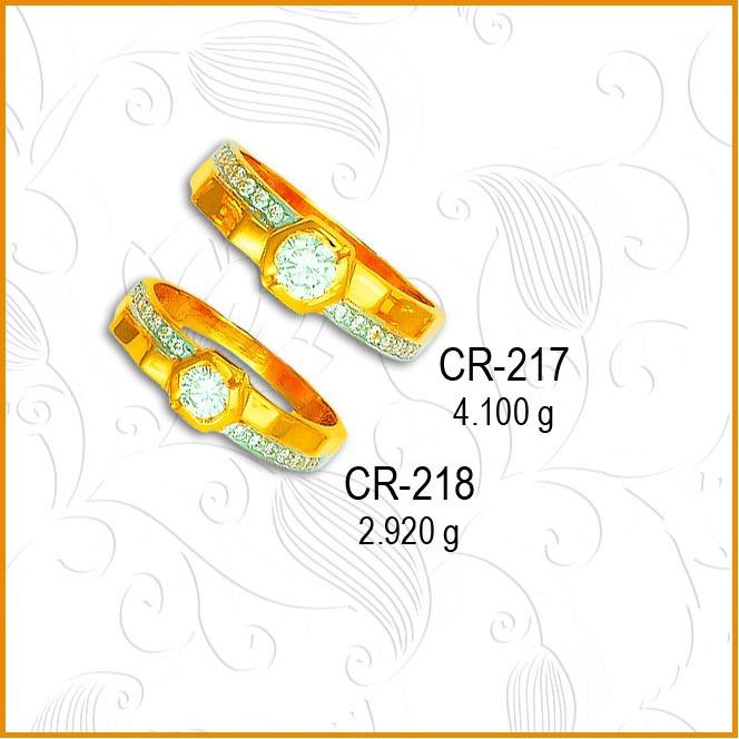 916 Gold Fancy CZ Diamond Couple Ring CR-217