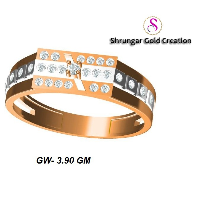 22KT Rose Gold Wedding CZ Ring