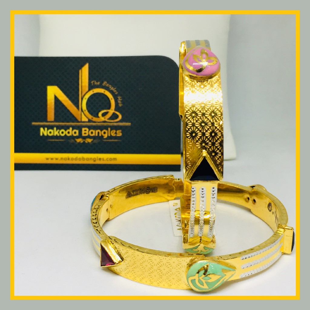 916 Gold Stone Fancy Bangles NB - 536