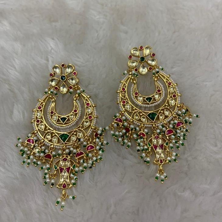 Artificial White Moti Wedding Earrings