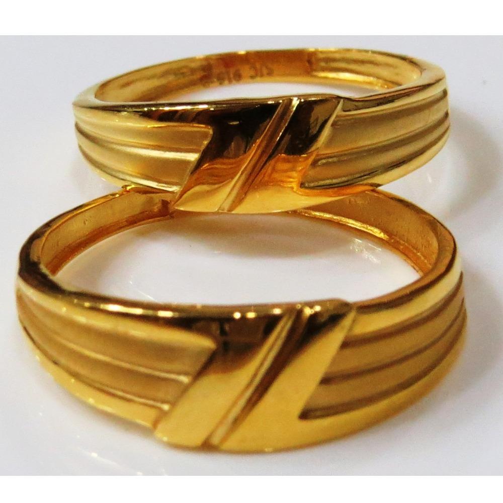 22kt gold plain casting fancy couple band cr-1