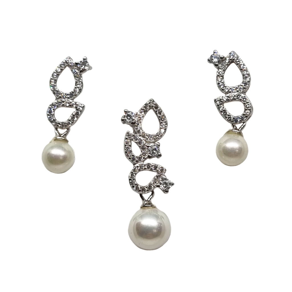 925 Sterling Silver Pearl Modern Pendant Set MGA - PDS0193