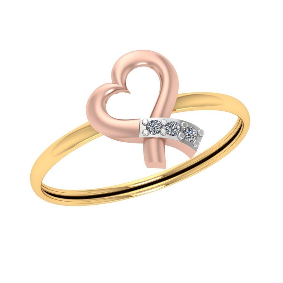 916 Gold Heart Shape Diamond Ring JJ-R01