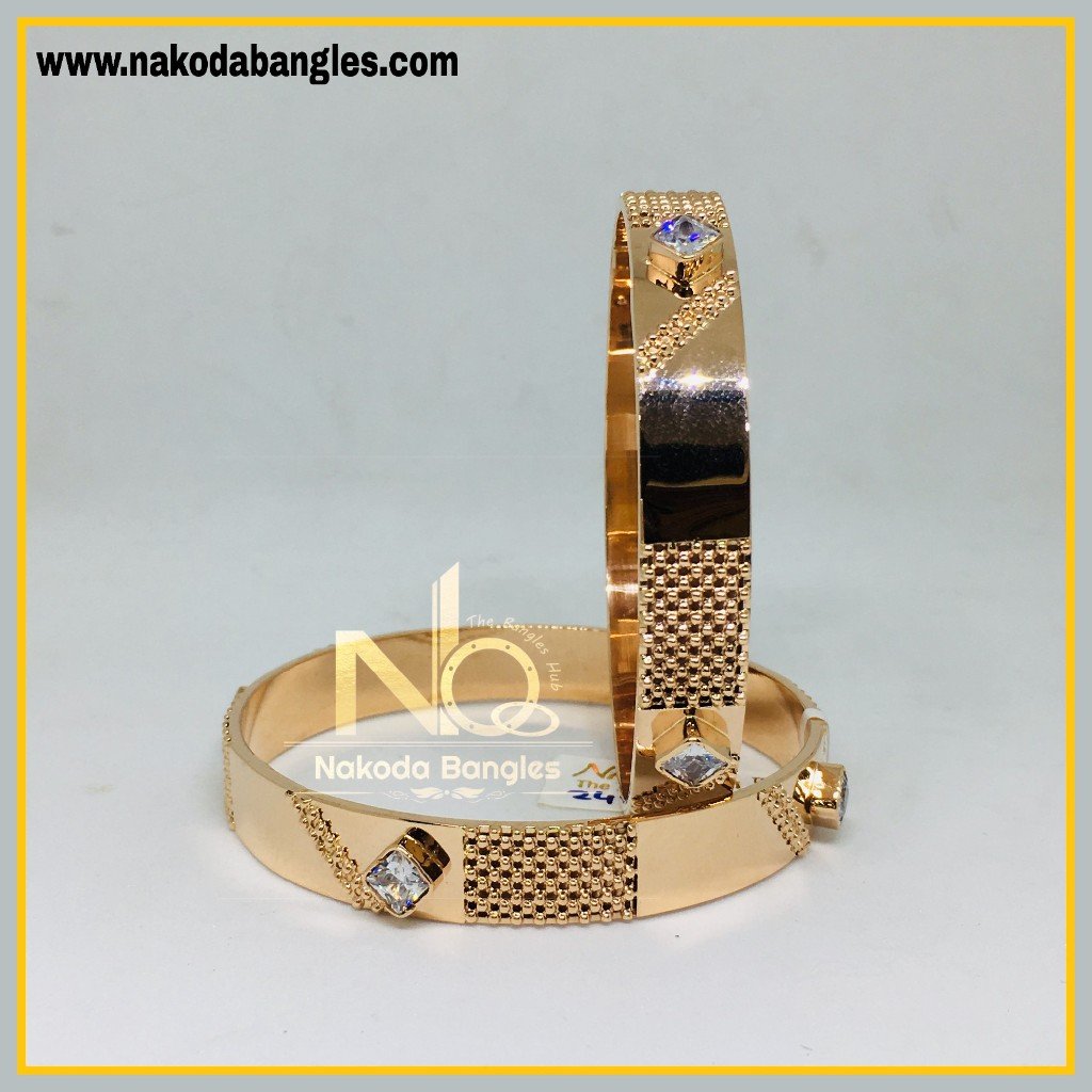 916 Gold Rose Gold Stone Fancy Bangles NB - 453