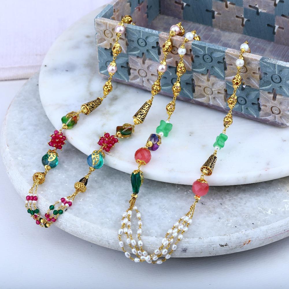 22Kt Gold Fancy Colorful Beads Mala RJ-M01