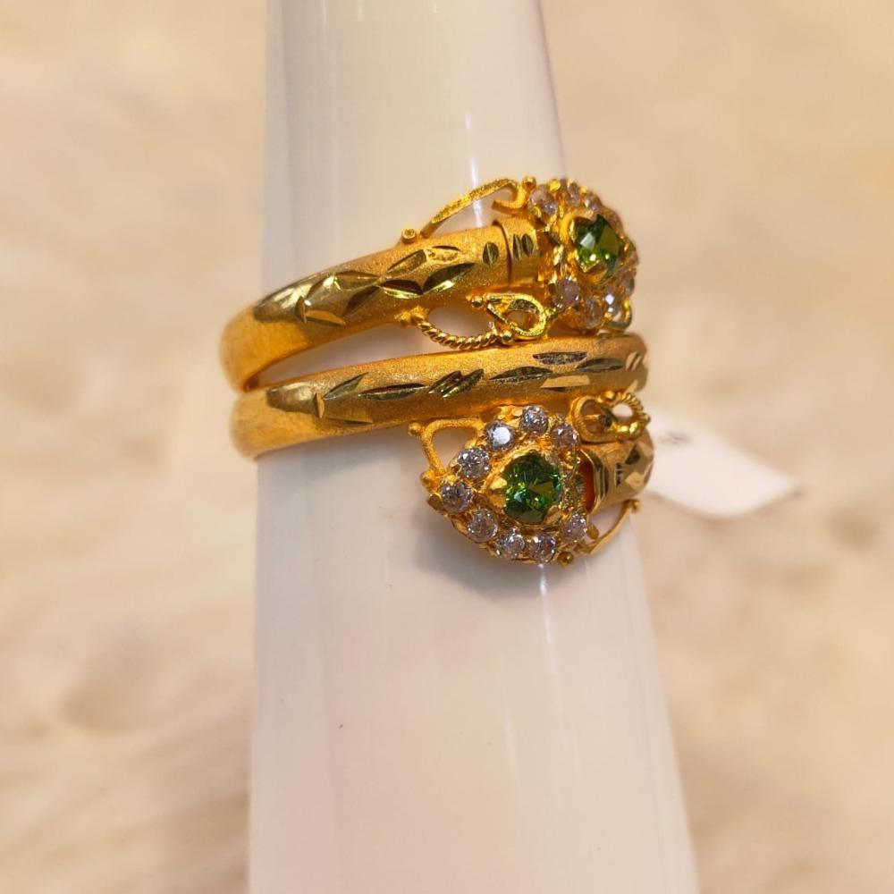 916 Gold Green Stone Fancy Ring