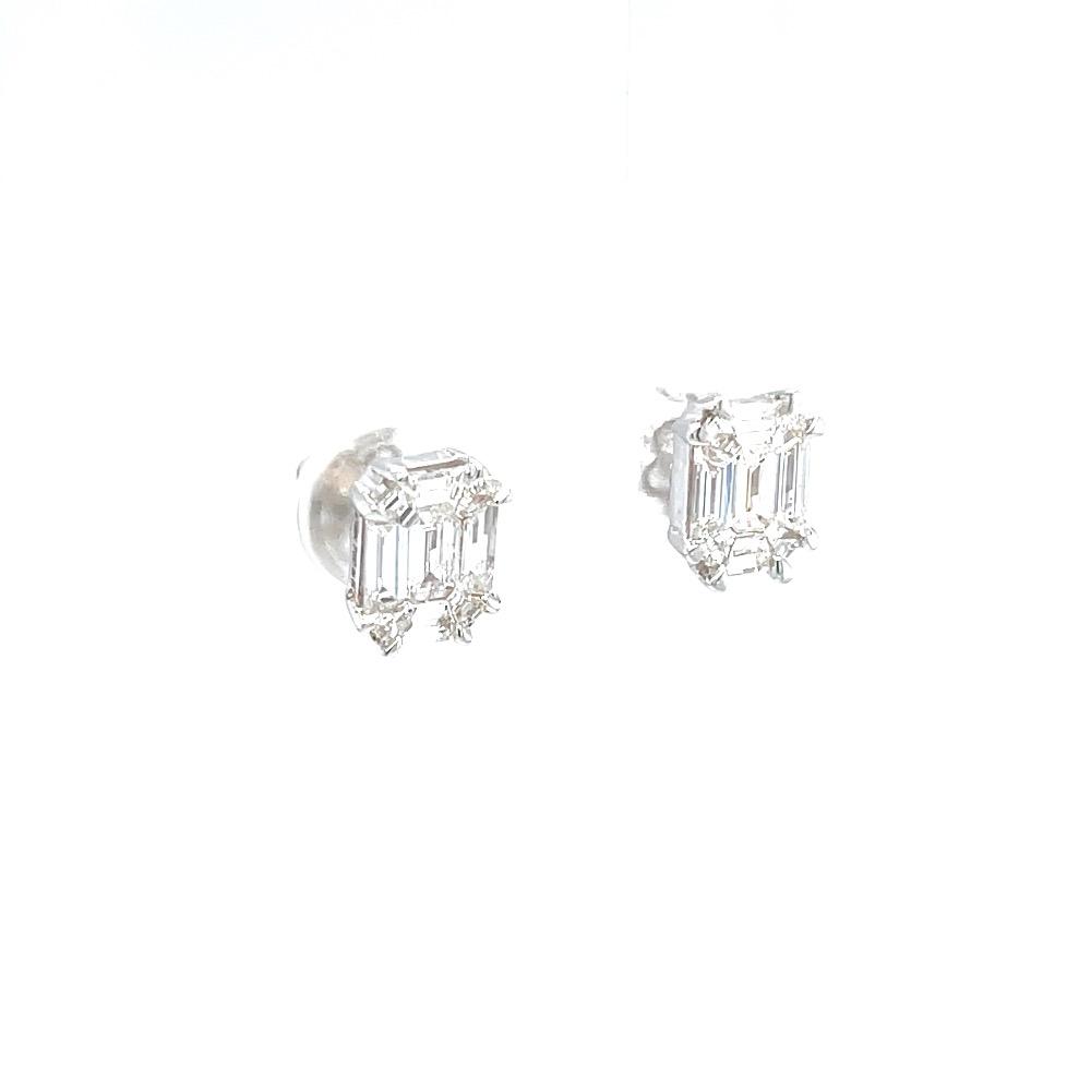 Emerald cut pressure set solitaire studs in white gold 0top43