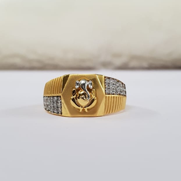 22Kt Gold Cross Cz Stone & Dull Polish Rodiyam Ganpati Jents ring for Men