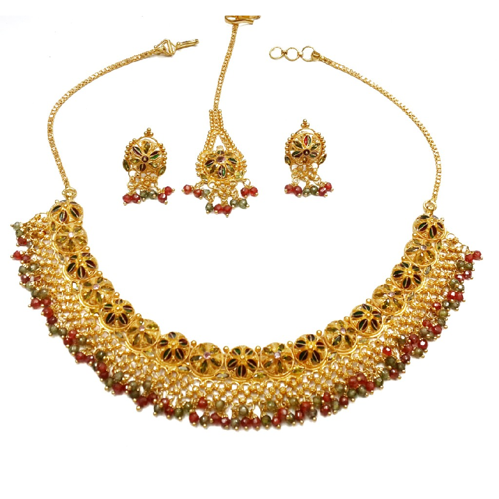 22k gold multi meenakari flower shaped necklace set mga - gn052