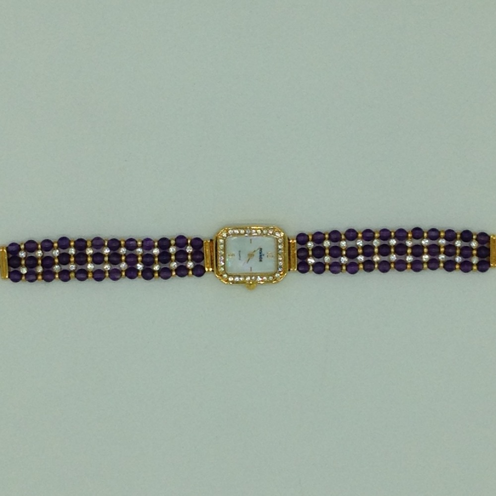 Natural amethyst round beeds 3 layers watchjbg0242