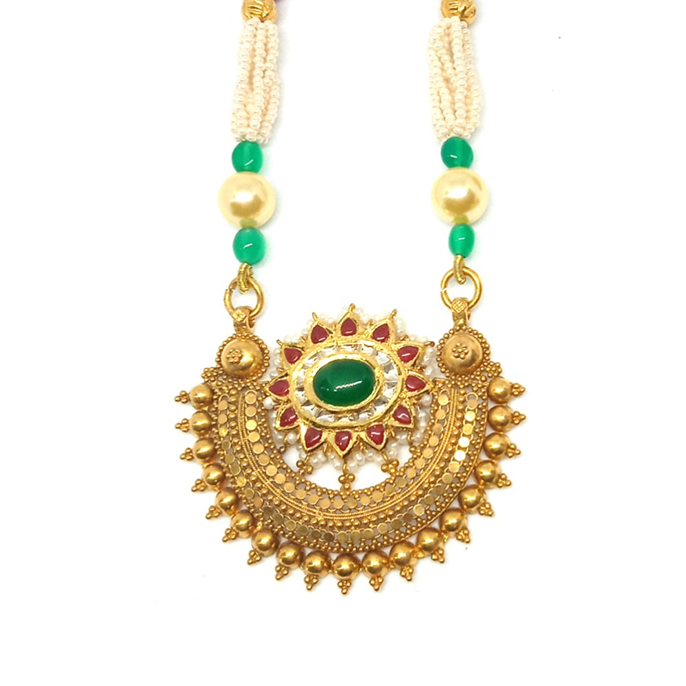 916 Gold Antique Bridal Pendant Set LJ-8