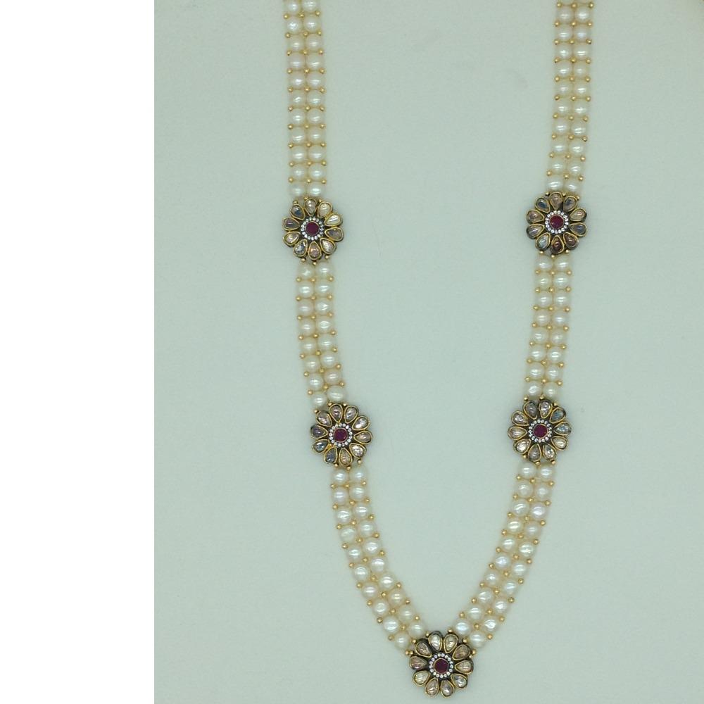 White cz and kundan broachset with buttonjali pearls mala jps0580