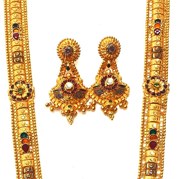 22k Gold Flower Shaped Long Necklace With Earrings MGA - GLS059