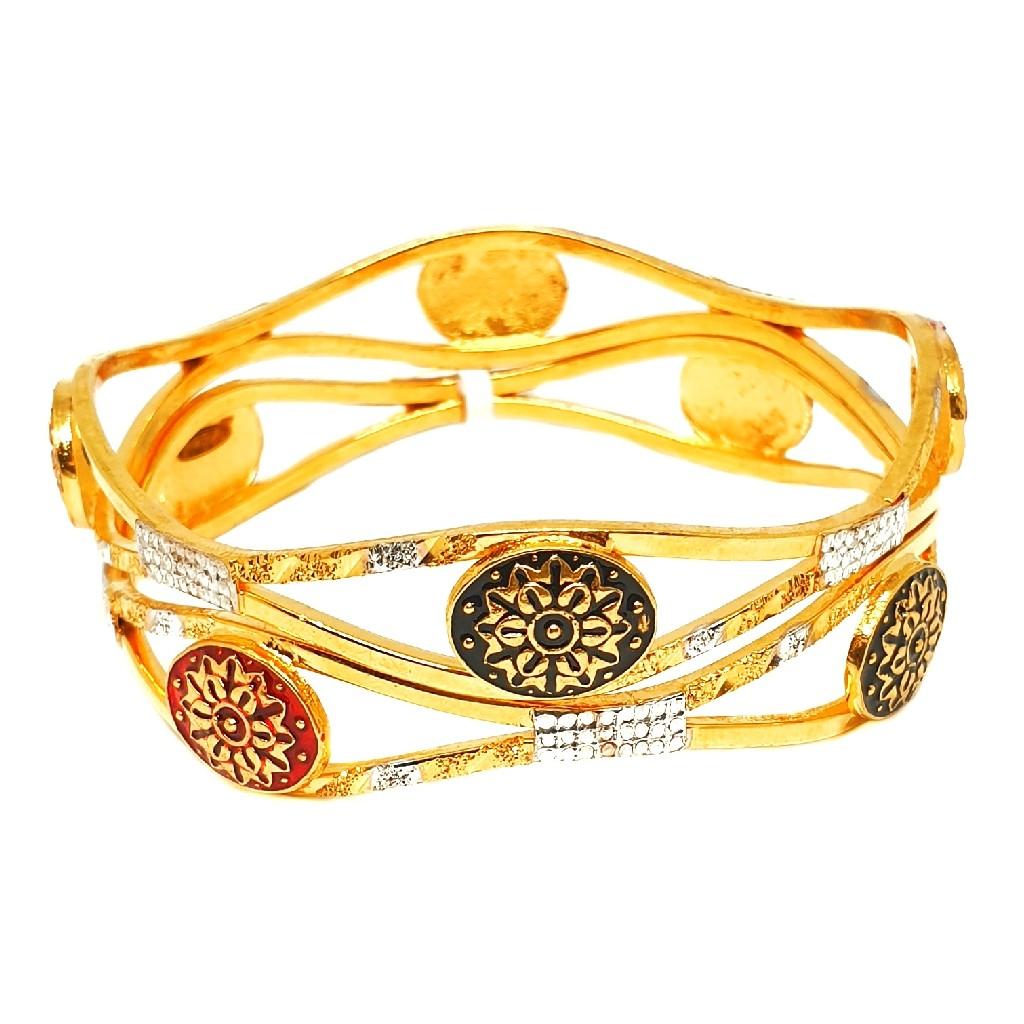 One gram gold forming 2 piece kadali bangles mga - bge0245