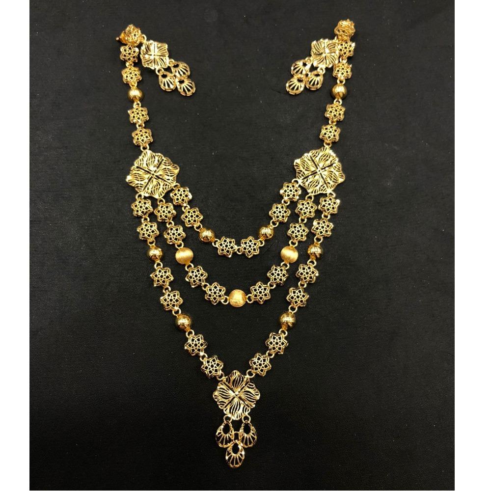 22K Gold Triple Layer Necklace Set