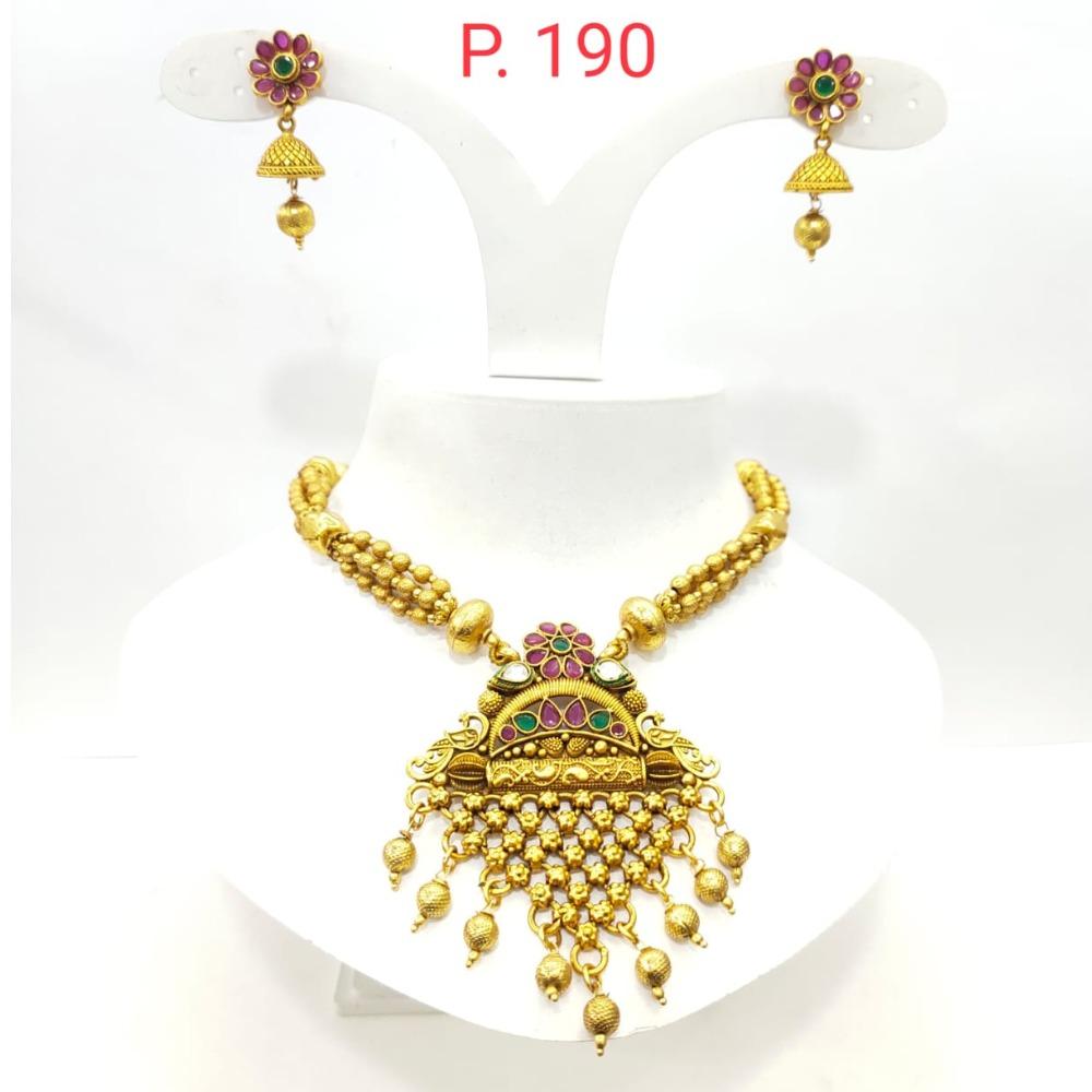 Antique Gold tone Flower Design & Hanging Bead Necklace set 1413