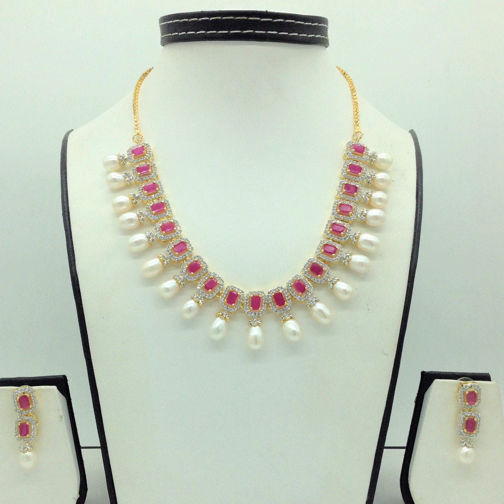 White ,RedCZ Stones And Tear Drop Pearls Necklace Set JNC0153