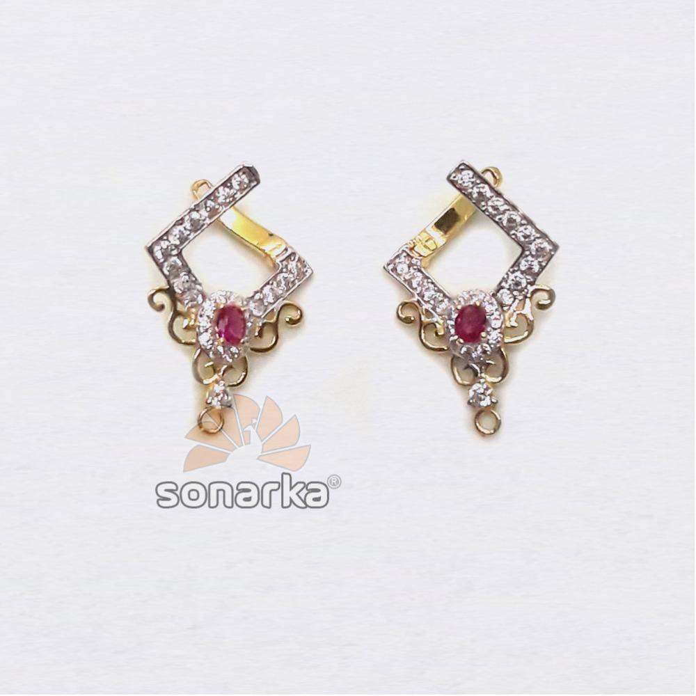 22KT Gold Modern CZ Diamond Earrings