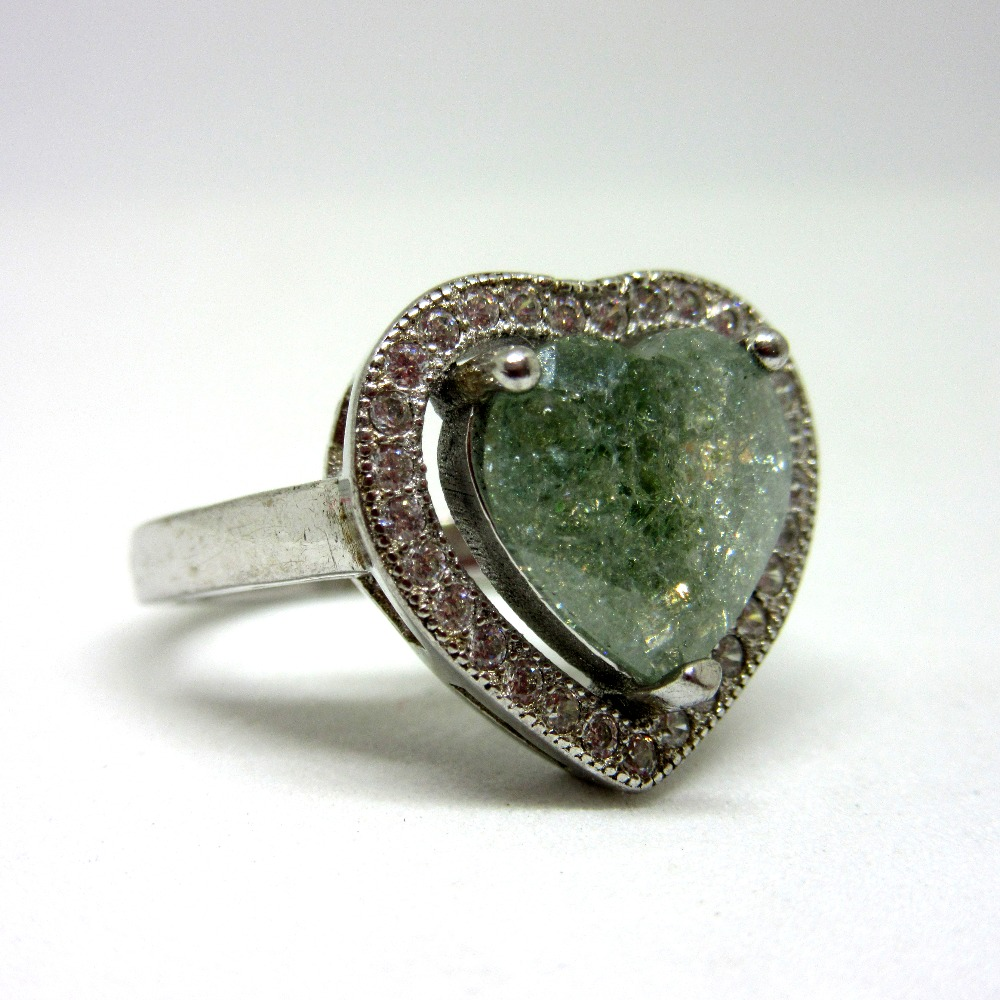 925 silver heart shape stone ring sr925-205