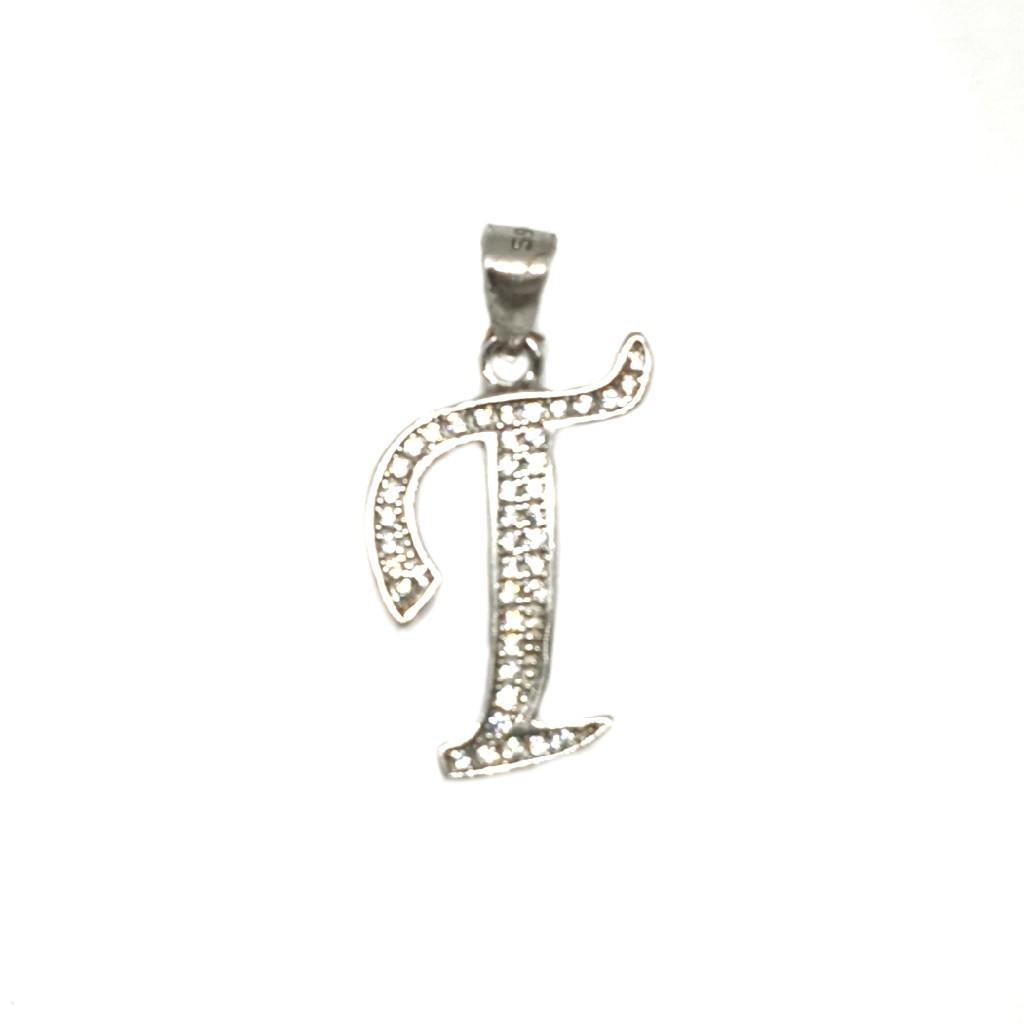 925 Sterling Silver Alphabet (Letter T) Pendant MGA - PDS0051