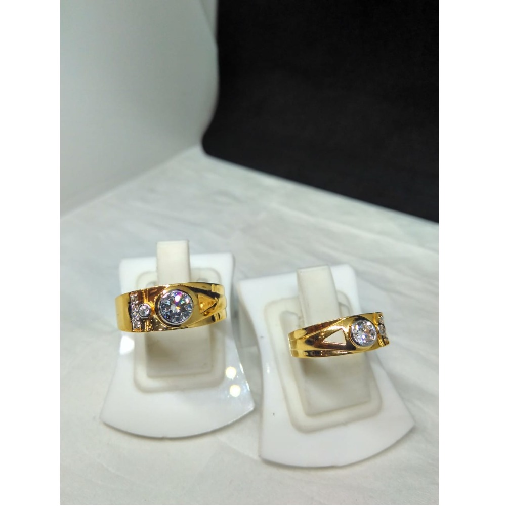 22kt gold single stone couple ring sg-r002