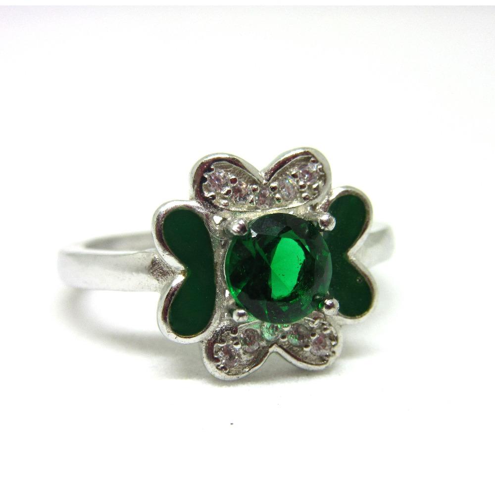 Silver 925 green stone meena ring sr925-106