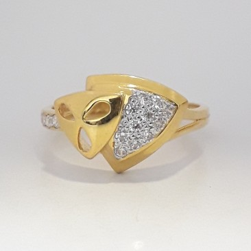 916 cz gold fancy ladies ring