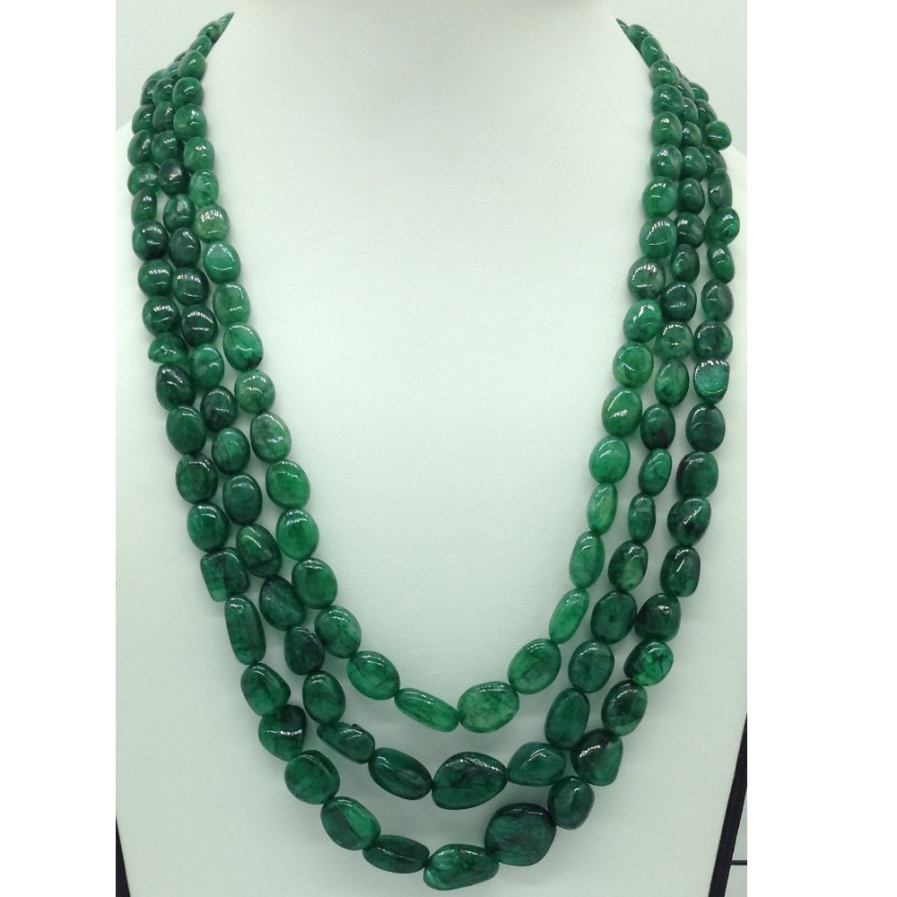Natural Green Bariels Oval Tumbles3Layers Necklace JSS0132