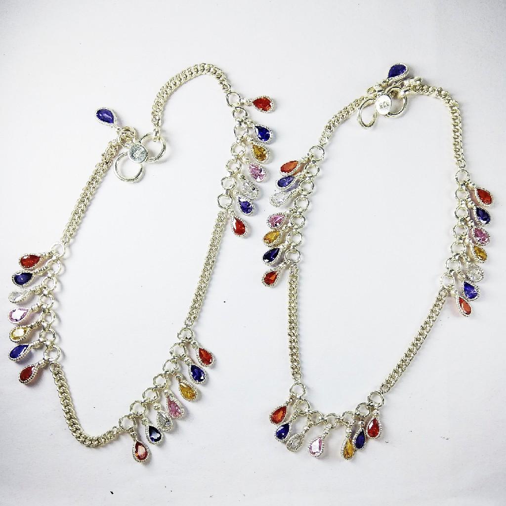 925 Silver Payal With Multivoloured Stones