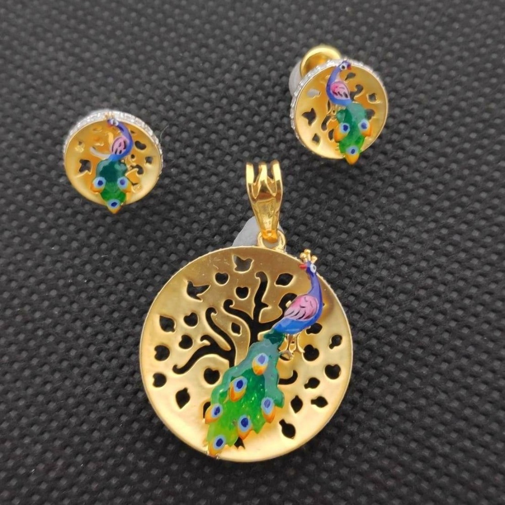 916 Gold Attractive Peacock Design Pendant Set RH-PS003