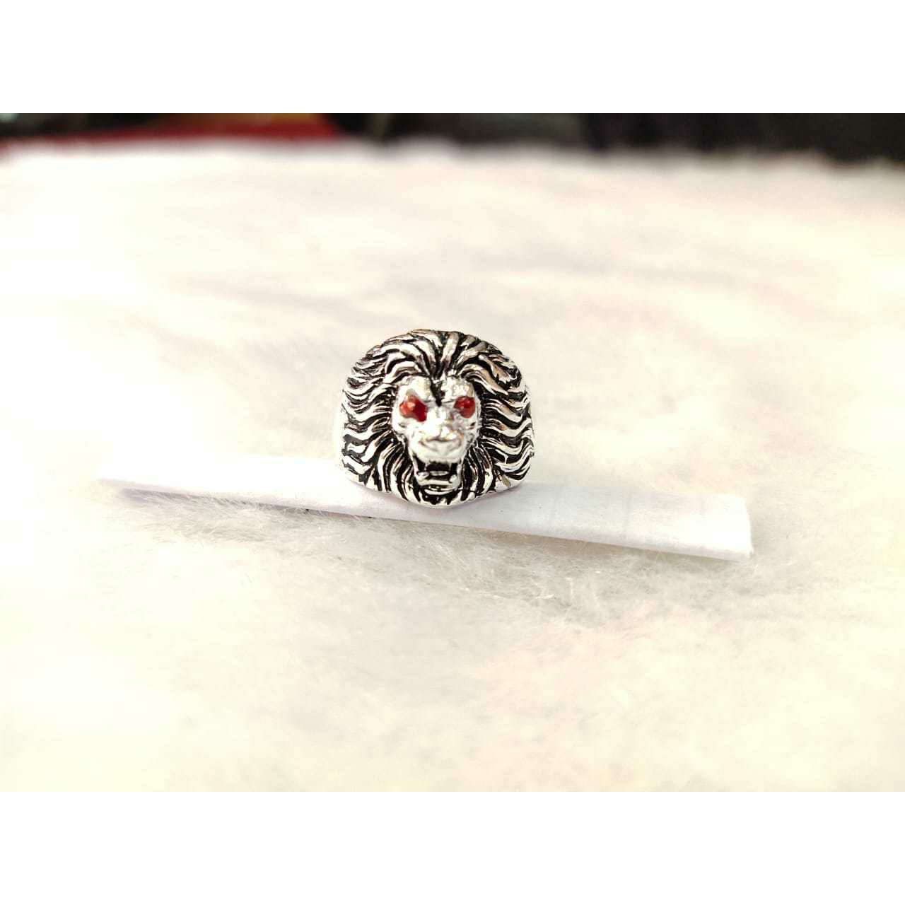 92.5 Sterling Silver Lion Face Ring Ms-3813