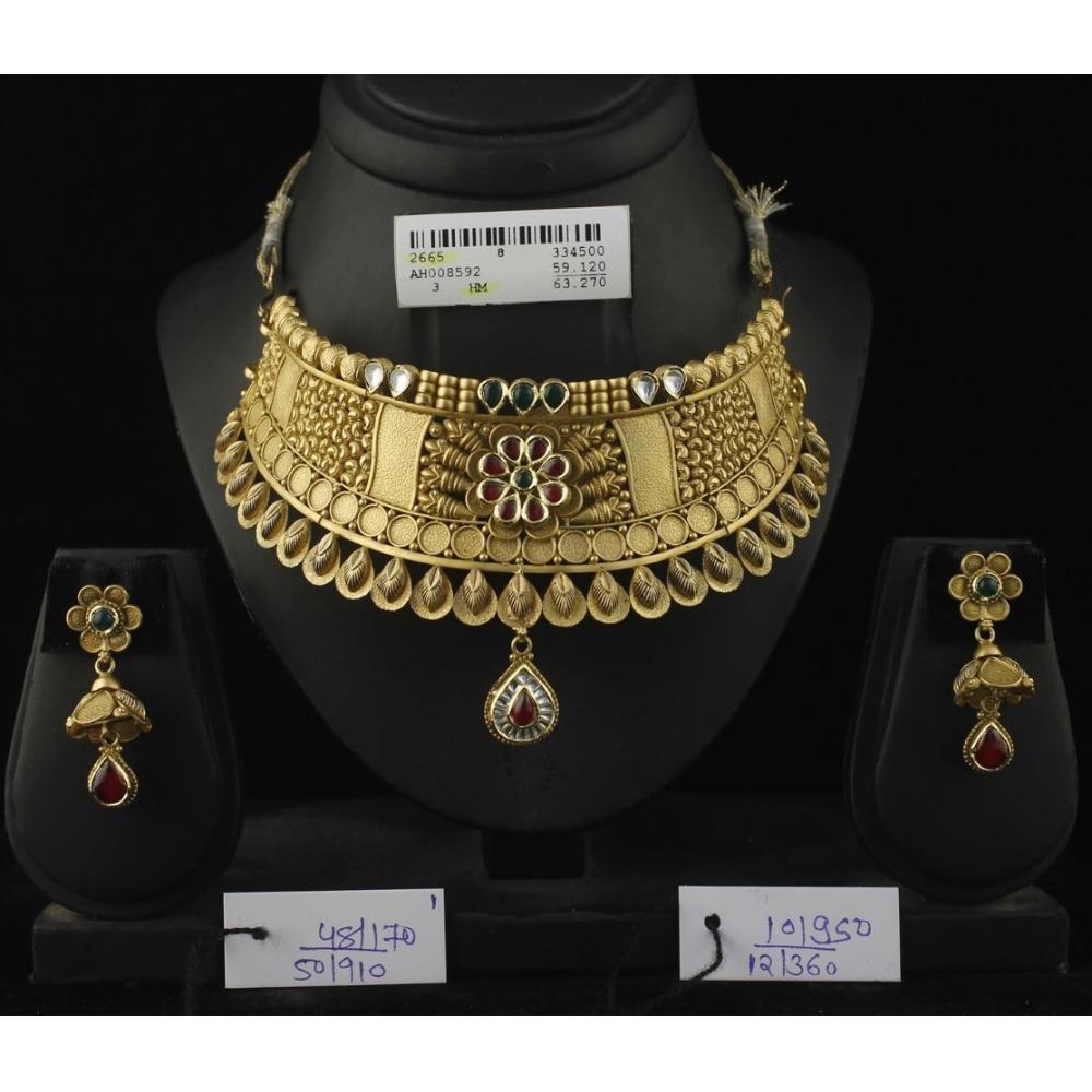 916 Gold Antique Bridal Choker Set