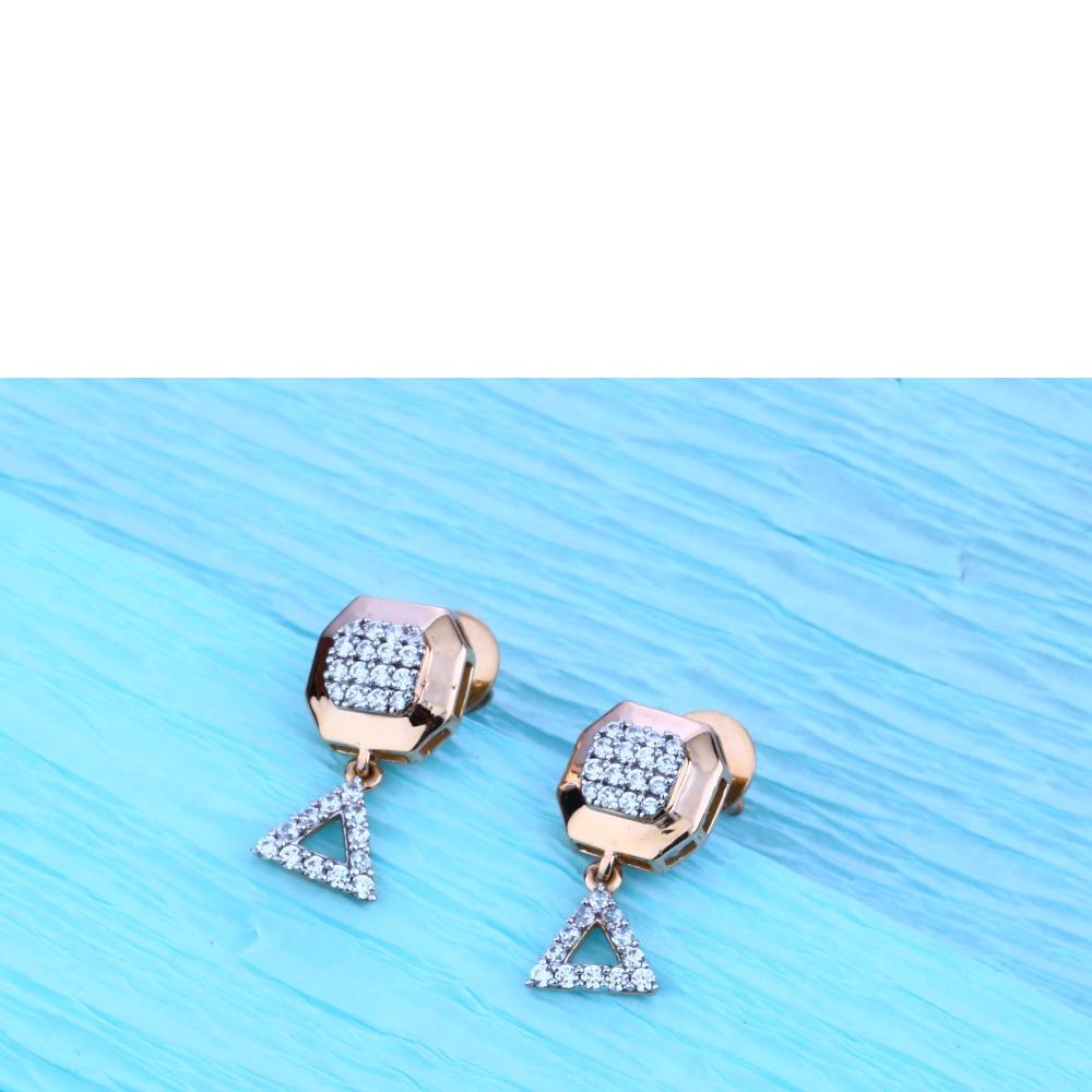 18KT Rose Gold Cz Stylish Pendant Set  RMPN31