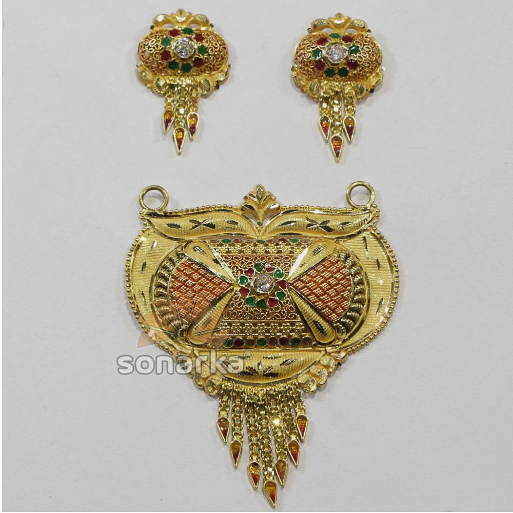22k gold kalkutti Pendent Set with minakari