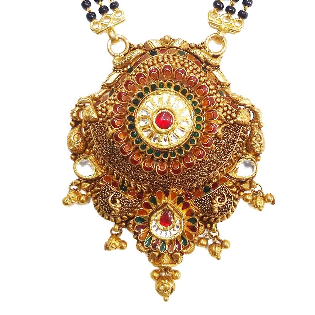 22k Gold Antique Flower Shaped Rajwadi Mangalsutra MGA - GM055